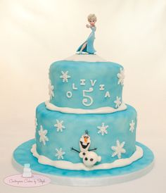 Olivia's Frozen Birthday - Chocolate, Vanilla and strawberry layers for both tiers :)  Elsa is a toy, Olaf is MMF  TFL