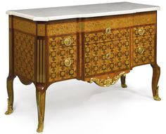 LOUIS XV/XVI TRANSITIONAL ORMOLU-MOUNTED KINGWOOD AND AMARANTH STAINED SYCAMORE PARQUETRY AND MARQUETRY INLAID COMMODE CIRCA 1770 height 33 in.; width 51 in.; depth 21 in. / 84 cm; 130 cm; 53.5 cm