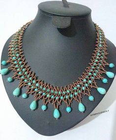 Turquoise, natural stone, sand coffee beads length: The extent, if you have a different preference, please do not hesitate to contact us Seed Bead Earrings, Gemstone Necklace, Beaded Earrings, Turquoise Necklace, Beaded Jewelry, Handmade Jewelry, Unique Necklaces, Bib Necklaces, Necklace Tutorial