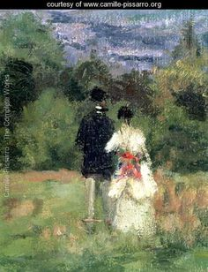 Louveciennes, detail of lovers - Camille Pissarro - www.camille-pissarro.org