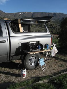 Amazing, Easy, Legless Camp Table Setup - Expedition Portal Source by desktodirtbag Truck Bed Camping, Camping Table, Family Camping, Camping Gear, Camping Hacks, Outdoor Camping, Camping Stuff, Camping Essentials, Truck Topper Camping