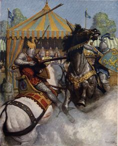 "Wyeth ""Sir Mador's spear brake all to pieces, but the other's spear held,"" illustration for Sidney Lanier, ed., The Boy's King Arthur: Sir Thomas Malory's History of King Arthur and. Arthurian Legend, King Arthur, Art, Fantasy Art, Arthurian, Wyeth, Universe Art, Painting, The Boy King"
