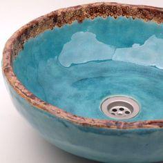 Beautiful turquoise vessel sink. umywalka turkus z koronką / Dekornia…