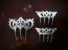 Set of 3 Sterling Silver Edwardian Antique Hair Combs by givonsti