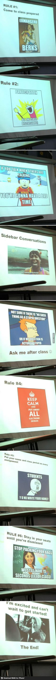 Memes + PowerPoint: Creative way to present the class rules to students!