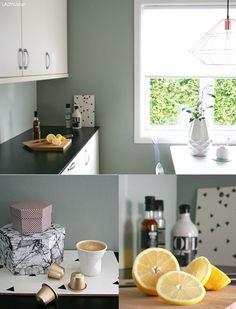 Jannicke i designduoen, ert&ris, har lenge lett etter den perfekte kjøkkenfarge. Endelig fant hun den. Se hvor fint det ble.