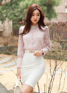 Latest Cost-Free Business Outfit korean Popular, - Sites new Classy Outfit, Elegant Outfit, Korean Fashion Work, Asian Fashion, Women's Fashion, Look Office, High Waisted Pencil Skirt, Korean Dress, Pretty Asian
