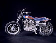 "Evel Knievel's Harley-Davidson XR-750  - More than a daredevil, Evel Knievel combined sportsmanship and show business to become one of the most famous performers in America. The perils of his sport—making a motorcycle ""fly"" over a row of vehicles—clearly were not for the average rider. Many of his jumps were successful; but in some spectacular crashes, Knievel fractured 35 to 40 bones... #flagday"
