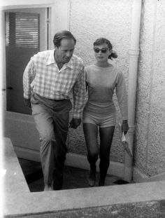Audrey and husband Mel Ferrer on short holiday in Cap d'Antibes, France, 1956.