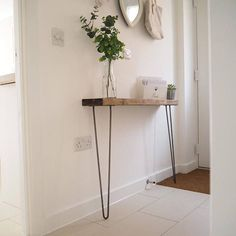 PLEASE CLICK ON THE +MORE BUTTON TO VIEW FULL DESCRIPTION & MEASUREMENTS Narrow console table with hairpin legs, wooden rustic hallway table. These rustic, chunky, wooden, narrow console tables are perfect for narrower hallways and landings with a depth of between 14cm and 20cm and