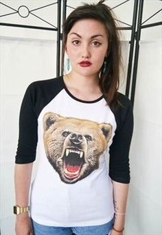 Women's Bear Roar Wildlife Baseball Top Sleeve Bears New Baseball Tops, Opening A Boutique, Bear T Shirt, Navy And White, Long Sleeve Tops, Urban Outfitters, Bears, T Shirts For Women, Lady