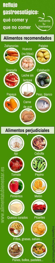 #Infografia Alimentos para el reflujo gastroesofágico: qué comer y qué no comer #salud #bienestar #nutricion