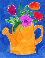 Art Projects for Kids: Watering Can Flowers from a great site:  Art Projects for Kids.