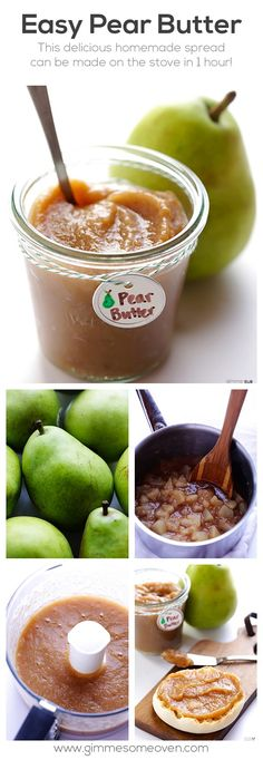 Pear Butter substitute the honey. How to make homemade pear butter -- the perfect use for leftover fresh pears! substitute the honey. How to make homemade pear butter -- the perfect use for leftover fresh pears! Fruit Recipes, Fall Recipes, Dessert Recipes, Recipes For Pears, Fresh Pear Recipes, Pear Recipes Healthy, Blender Recipes, Dishes Recipes, Healthy Fruits