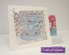 Side Stepper Card using Crafter's Companion Card Blanks and 5x5 Die'sire Create a Card die - Tea Party. Designed by Becky Turner #crafterscompanion