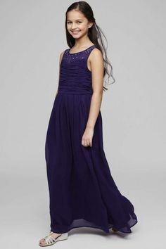 Modern A-line Floor-length Sleeveless Chiffon Scoop Glitter Junior Bridesmaid Dresses