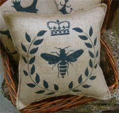 Decorative Burlap Pillows. This site has the coolest stencils. Very old world and vintage!