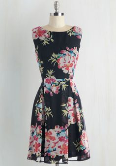Floral Phenomenon Dress. Extraordinary elegance is well within your reach thanks to this black floral dress! #multi #modcloth