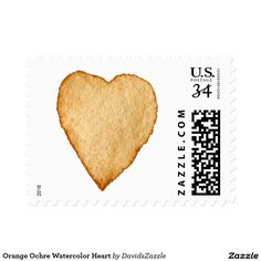 Orange Ochre Watercolor Heart Stamp  Available in three sizes and three rates!  #stamp #postage #post #mail #letter #united #states #postal #service #friend #family #mailing #send #sent #service #greeting #card #heart #love #emotion #relationship #feeling #friendship #friend #family #meaning #meaningful #water #color #watercolor #cute #pretty