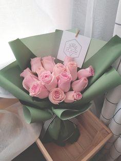 Mint Green Bouquet Pink Rose Bouquet, Pink Roses, Grace Symbol, Fresh Flowers, Mint Green, Valentines, Elegant, Gifts, Wedding