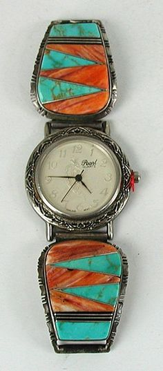 Vintage sterling silver turquoise and spiny oyster inlay watch tips