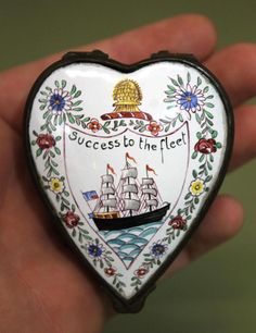 Antique 18thC Battersea Enamel, Sailors Sailing Ship Valentine, Heart Snuff Box in Snuff Boxes | eBay