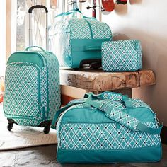 Oo-la-luggage! ~ The perfect travel companion, theJet-Set Pool Petal Chain Luggage features a fanciful allover print that brings chic style to superior function. Collection includes, carry-on suitcase, rolling duf...