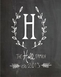 Customizable!!   Customized Chalkboard Monogrammed Print by BlossomsandBillows
