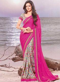 Magenta White Border Lace Work Printed Satin Georgette Half Designer Saree  #Wedding #Bridal #designer #Saree       http://www.angelnx.com/Sarees