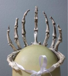 This is a listing for a crown of finger bones. It is made of resin, rubber, urethane foam, and ribbon. It is lightweight and attaches with a ribbon. Better photos to come. Collar and corset sold separately. Finger, Diy Crown, Costume Tutorial, Beltane, Schaum, Skull Jewelry, Fall Halloween, Costume Design, Fall Decor