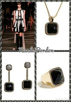Compre aqui: www.sophiejuliete.com.br/estilista/nandabordon  Semi joia zirconia onix luxo banhado a ouro brinco anel colar acessorios moda fashion