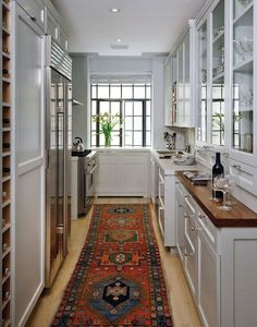 Best and Company NYC: Amazing galley kitchen in pre-war building with crisp white shaker cabinets and ...