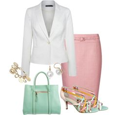 Work Day Tuesday by annabouttown on Polyvore featuring polyvore, fashion, style, Yochi, top handle bags, strappy sandals, pencil skirts and blazers