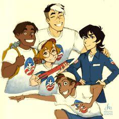 Shiro, Keith, Lance, Hunk, Pidge <--- SPACE CAMP AU SHIRO IS THIER COUNSELOR YAS