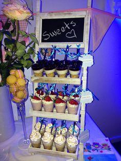 Lemon meringue, blueberry cheesecake and strawberry mousse dessert shots