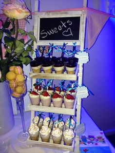 Lemon meringue, blueberry cheesecake and strawberry mousse dessert shots