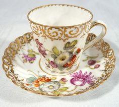 Antique Dresden Hermann Ohme Silesia Demitasse Miniature Teacup and Saucer, 1883.