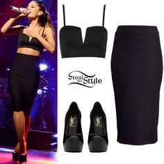 """Ariana Grande performed """"Love Me Harder"""" on Saturday Night Live last night wearing a Topshop Seam V Bralet ($40.00), a black pencil skirt similar to this one from H&M ($12.95) and her Saint Laurent Classic Tribute Two Pumps ($795.00). You can similar pumps Steve Madden ($59.95)."""
