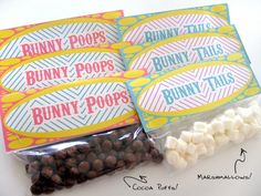 Bunny Poops & Bunny Tails, Printable PDF with plain m&ms or jumbo poop with Hershey drops.