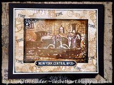 Using bleach to highlight stamps! Card by Liesbeth Fidder using Darkroom Door Steam Locomotive Collage Stamp.