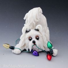 Maltese Ornament with Christmas Lights Porcelain by TheMagicSleigh, $23.00