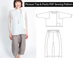Sewing Workshop (US) / Printed Sewing Pattern / Frankie Shirt Diy Clothes Patterns, Tunic Sewing Patterns, Plus Size Sewing Patterns, Linen Tunic, Pants Pattern, Plus Size Tops, 2020 Future, Wave, Cover Picture