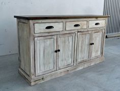 Pictured is our Napa Sideboard shown in a Dark Walnut Top and Weathered White Base and produced from solid Reclaimed/Salvaged Pine Napa