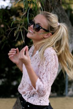 Adorable pink lace summer outfit!