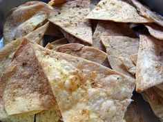 Quick Tortilla Chips made from flour tortillas, with paprika, salt, all-spice, and celery salt.