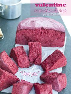 Homemade valentine  marshmallows - paleo, sugar free!