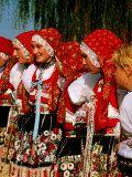 Women Wearing Folk Dress During St Wenceslas Feast Festival  Kyjovska Vs  Moravany  Czech Republic