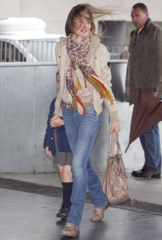 Princess Laetizia of Spain.. love her cream sport jacket with matching floral scarf.