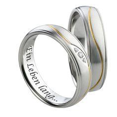 LIEBLINGSMENSCH Partnerringe / Eheringe. Set aus Damenring und Herrenring.  Damenring mit gefasstem Zirkonia.  Beide Ringe sind innen poliert und bombiert.  Die Ringe können zusätzlich mit Gravur versehen werden.  #Lieblingsmensch #Partnerringe #Eheringe #Schmuck #Geschenk #Herrenring #Damenring #Schmuck #Ringe