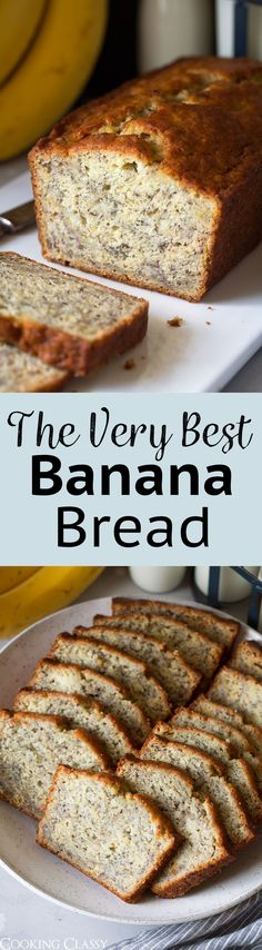 This Is The Best Banana Bread Recipe Quick And Easy To Make And No Mixer Is Required. It's Perfectly Moist And Amazingly Tender And It's Brimming With Banana Flavor. Basically, Everyone Will Have A Hard Time Stopping At Just One Slice Homemade Banana Bread, Best Banana Bread, Glutenfree Bread, Dessert Bread, Dessert Recipes, Recipes Dinner, Gluten Free Sourdough Bread, Easy Gluten Free Bread Recipe, Pain Au Levain